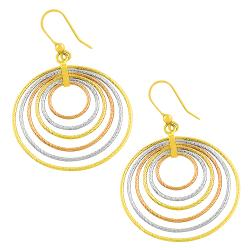 Fremada 14k Tri-color Gold Textured Graduated Circle Dangle Earrings
