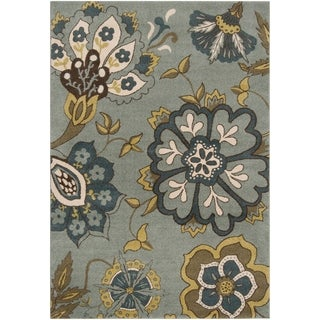 Meticulously Woven Contemporary Sea Blue Floral Fleetwood Rug (5'3 x 7'6)