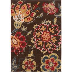Meticulously Woven Contemporary Brown Floral Flitwick Rug (7'10 x 10')