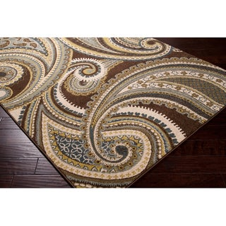 Meticulously Woven Contemporary Brown/Green Paisley Floral Folkestone Rug (5'3X7'6)