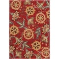 Meticulously Woven Contemporary Red Floral Framlingham Rug (5'3 x 7'6)