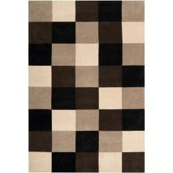 Hand-tufted Contemporary Black/Brown Stripe Glossop New Zealand Wool Abstract Rug (9'X13')