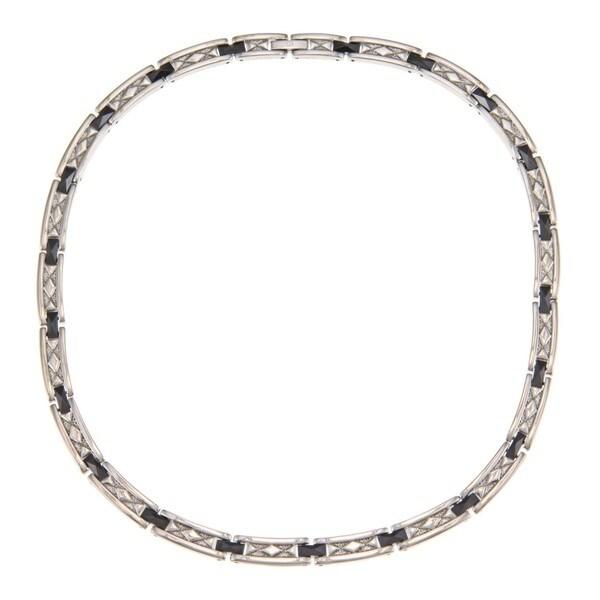 La Preciosa Stainless Steel Black Ceramic w/ Diamond-shaped Design Necklace