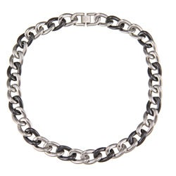 La Preciosa Stainless Steel Black Ceramic Gucci Link Necklace