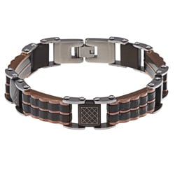 La Preciosa Rose Gold over Steel Black Link Bracelet