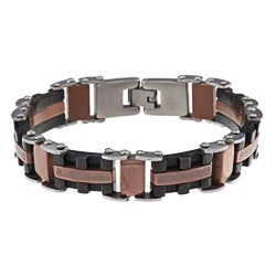 La Preciosa Stainless Steel Black and Rose-Gold Plated Greek Key Design Link Bracelet