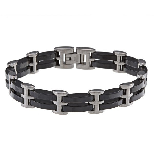La Preciosa Stainless Steel Black Ceramic Bar Link Bracelet