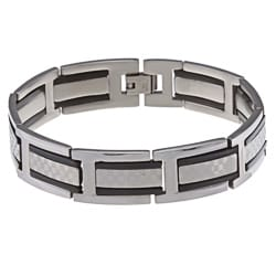 La Preciosa Stainless Steel Black Checkered Link Bracelet