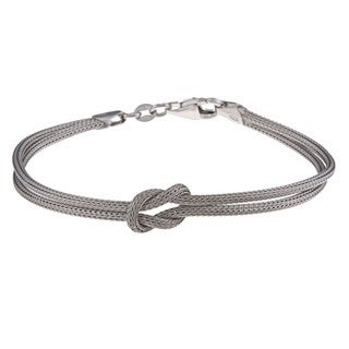 La Preciosa Sterling Silver Double-Strand Center Love Knot Bracelet