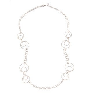 La Preciosa Sterling Silver D-C Multi-Sized Circle Link Necklace