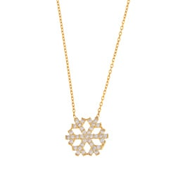 La Preciosa Sterling Silver GP CZ Snowflake Necklace