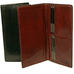 Men's Breast Pocket Leather Organizer Checkbook Wallet