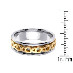 14k Two-tone Gold Celtic Men's Chain Design Wedding Band