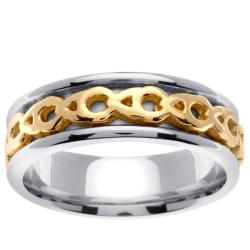 14k Two-tone Gold Celtic Men's Chain Design Wedding Band