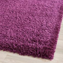 Cozy Solid Purple Shag Rug (2'3 x 7')