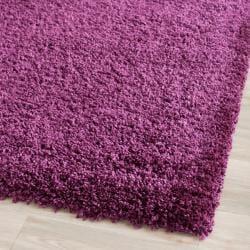 Cozy Solid Purple Shag Rug (2'3 x 7')