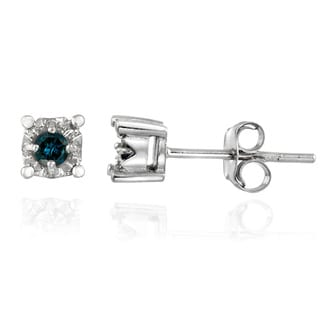 DB Designs Sterling Silver 1/8ct TDW Blue Diamond Crown Earrings