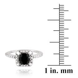 Glitzy Rocks Sterling Silver 1 3/4ct TGW Square Black Spinel Ring