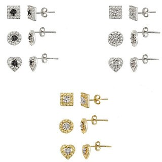 DB Designs Two-tone Diamond Accent Circle, Square and Heart Earrings Set
