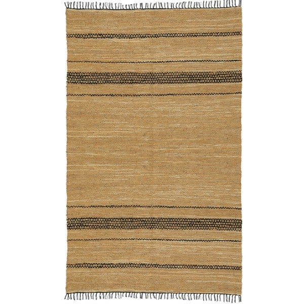 Hand-woven Matador Tan Leather Rug (9' x 12')