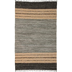 Hand-woven Matador Grey Leather Rug (9' x 12')