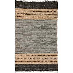 Hand-woven Matador Grey Leather Rug (9' x 12')