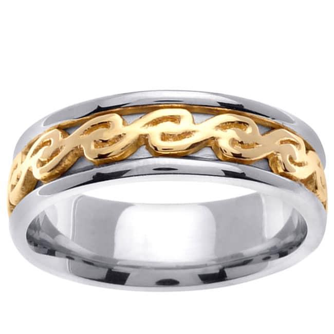 14k Two-tone Gold Celtic Design Men's Wedding Band