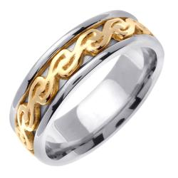 14k Two-tone Gold Celtic Design Men's Wedding Band