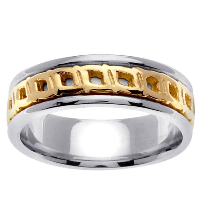 14k Two-tone Gold Celtic Buckle Design Men's Wedding Band