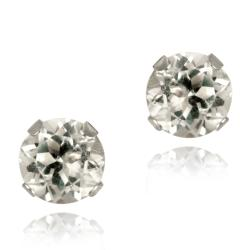 Glitzy Rocks Sterling Silver 1 1/6ct TGW 5-mm White Topaz Stud Earrings
