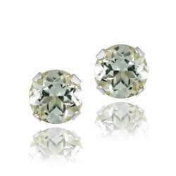Glitzy Rocks Sterling Silver 4/5ct TGW Green Amethyst 5-mm Stud Earrings