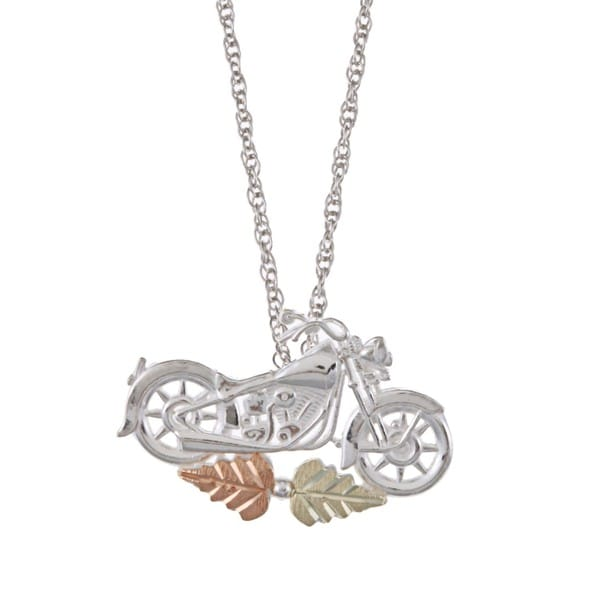 Black Hills Gold and Silver Motorcycle Necklace
