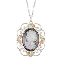 Black Hills Gold and Silver Mother of Pearl Cameo Necklace