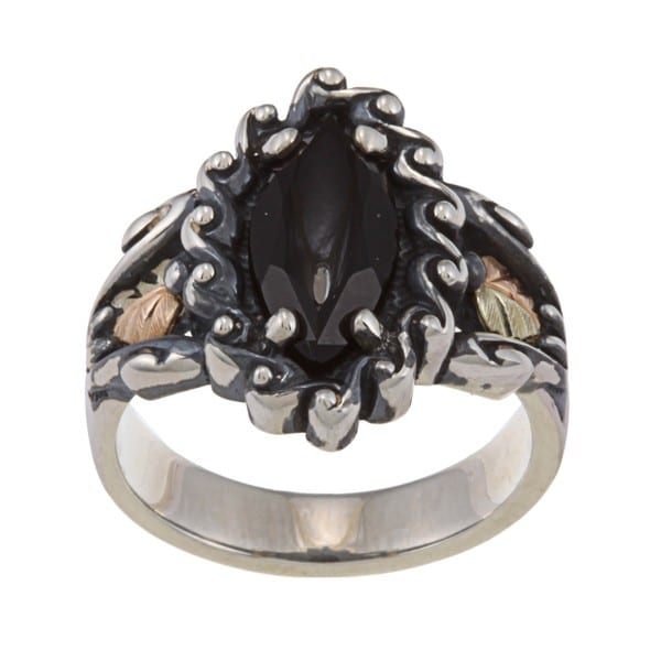 Black Hills Gold and Silver Onyx Ring
