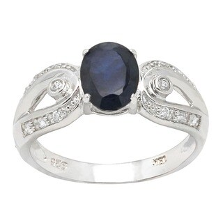 De Buman 18k Gold and Silver Sapphire and Cubic Zirconia Ring (Size 7)