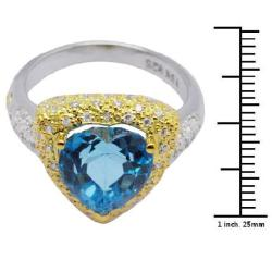 De Buman 18K Gold and Silver Blue Heart-shaped Topaz and Cubic Zirconia Ring