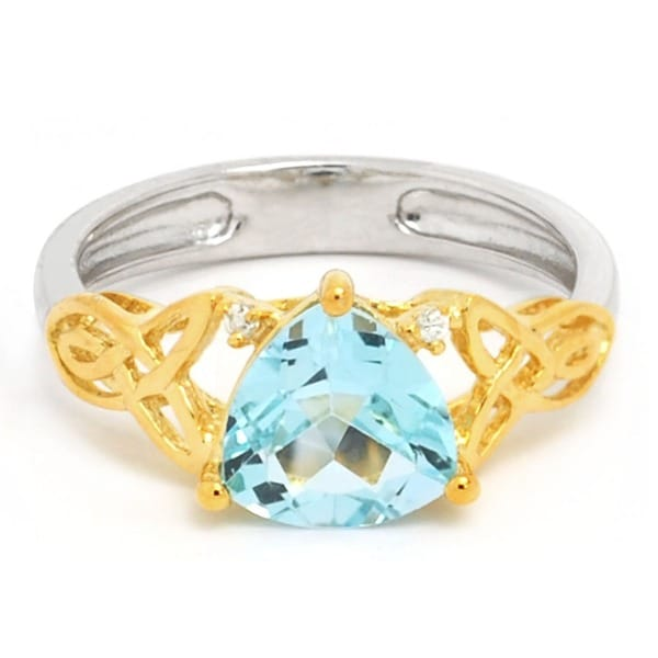 De Buman 18K Gold and Silver Blue Triangle-cut Topaz and Cubic Zirconia Ring