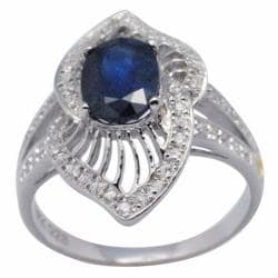 De Buman 18k Gold and Sterling Silver Oval-cut Sapphire and Cubic Zirconia Ring