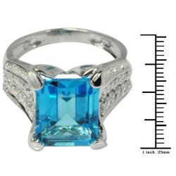 De Buman 18k Gold and Silver Blue Topaz and Cubic Zirconia Ring
