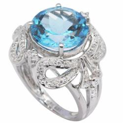 De Buman 18K Gold and Silver Blue Round-cut Topaz and Cubic Zirconia Ring