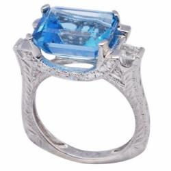 De Buman 18K Gold and Silver Blue Rectangle-and-square-cut Topaz and Cubic Zirconia Ring