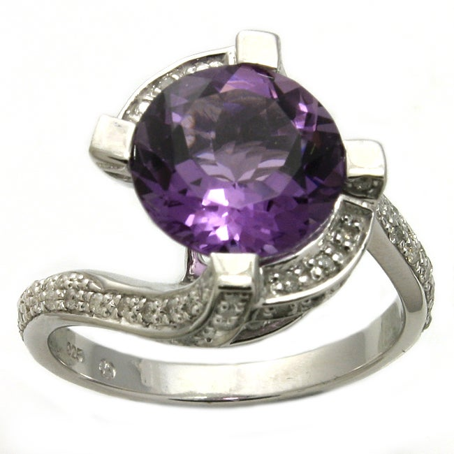 Beverly Hills Charm Silver Amethyst and 2/5ct TDW Diamond Ring (H-I, I2)