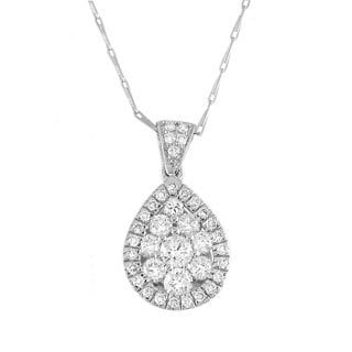14k White Gold 1ct TDW Teardrop Diamond Necklace (H-I, I1)