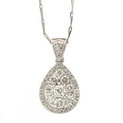 Beverly Hills Charm 14k White Gold 1ct TDW Teardrop Diamond Necklace (H-I, I1)