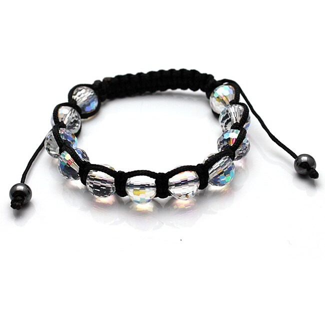 Clear Crystal Disco Ball Macrame Bracelet