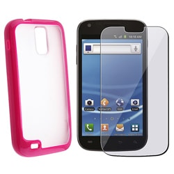 INSTEN Hot Pink TPU Skin Phone Case Cover/ Screen Protector for Samsung Galaxy S II T989