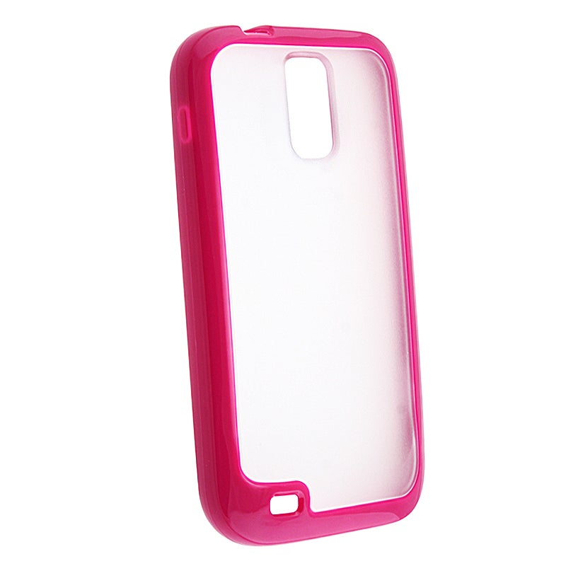 Clear with Hot Pink Trim TPU Skin Case for Samsung Galaxy S II T989