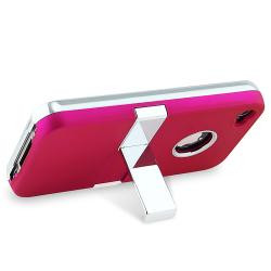 Hot Pink Case with Chrome Stand for Apple iPhone 4
