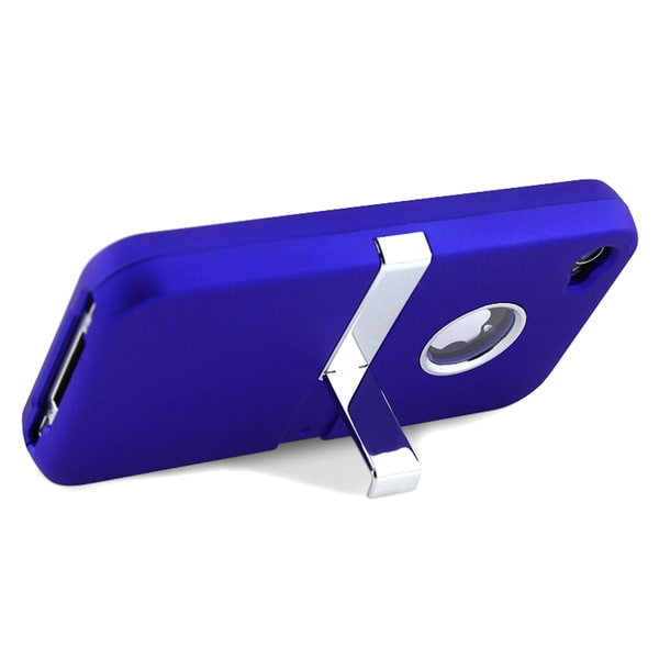 INSTEN Bright Royal-blue Plastic Phone Case Cover with Chrome Stand for Apple iPhone 4