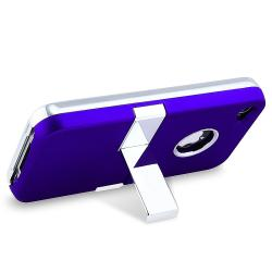 INSTEN Blue Phone Case Cover with Stand/ Protector/ Headset for Apple iPhone 4S